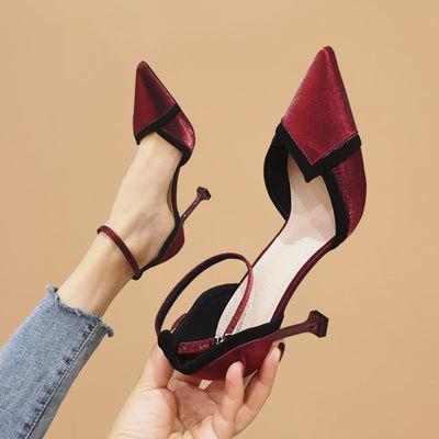 一字扣单鞋女细跟酒红色高跟鞋性感尖头时尚女鞋绸缎2020春夏新款