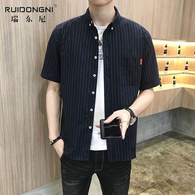 【瑞东尼】2020新款夏季短袖衬衫男士网红格子衬衫ins上衣衬衣男