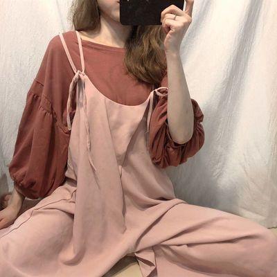 韩版套头圆领T恤纯色打底衫七分袖+外搭吊带休闲裤宽松阔腿两件套