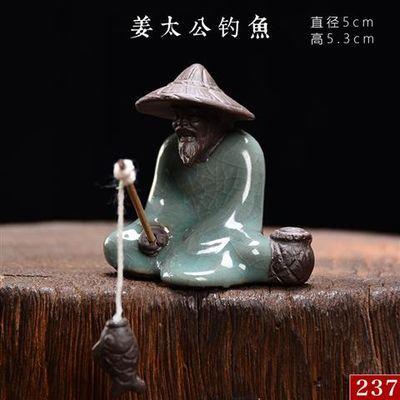 哥窑花宠花盆桌面禅意迷你小摆件陶瓷小和尚微景观盆景造景装饰品
