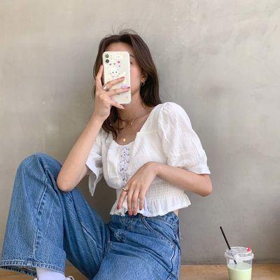 FREE VALLEY  20夏季韩版新品抽绳方领短袖法式复古衬衫女