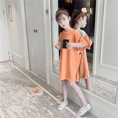 纯棉女童t恤2020新款夏装中大儿童装半袖中长款短袖上衣洋气体恤