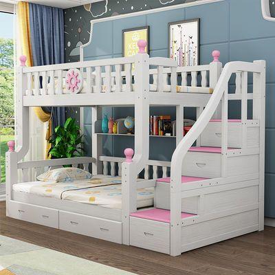 全实木加粗上下铺床高低床子母双层床儿童床成人子母床女孩公主床