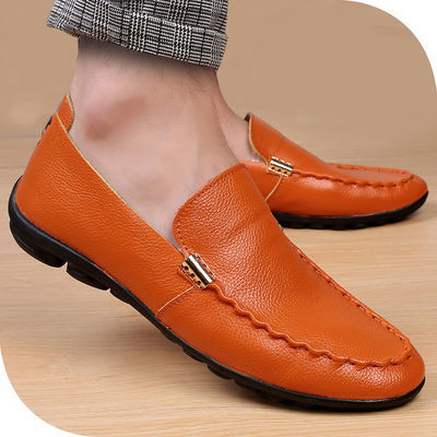 春夏季男士皮鞋真皮软底豆豆鞋男透气镂空洞洞凉鞋休闲皮鞋男韩版