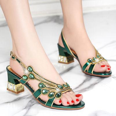 夏季新款女凉鞋真皮中跟气质水钻百搭时尚优雅舒适粗跟鱼嘴凉鞋女