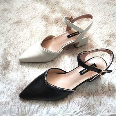 34271/包头凉鞋女新款粗跟尖头夏季仙女风学生韩版百搭一字扣带高跟鞋子