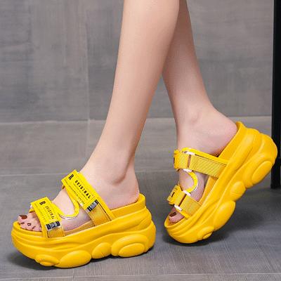 拖鞋女外穿夏天20aj新款网红爆款百搭厚底松糕鞋坡跟内增高凉拖鞋