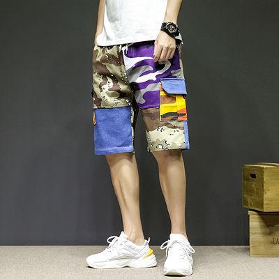 伲思贝勒男装2020夏新品潮流迷彩裤五分裤青少年潮流宽松直筒短裤