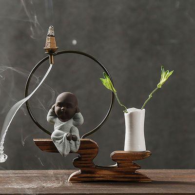 倒流香炉家用陶瓷香薰炉新款室内禅意创意檀香塔香倒流香实木摆件