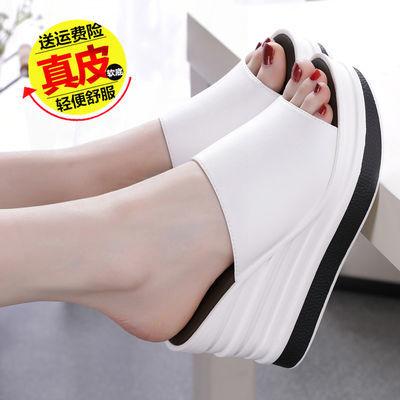 新款凉拖鞋女真皮厚底夏季休闲防滑显瘦时尚高跟一字拖坡跟拖鞋女