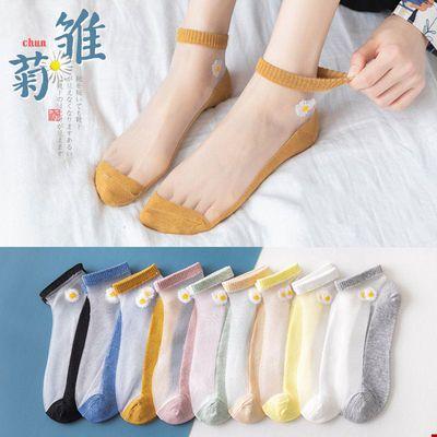 袜子女夏季薄款小雏菊卡丝袜船袜女士ins韩版短袜中筒防臭学生袜