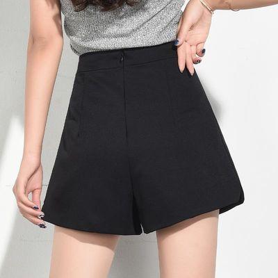 短裤女夏宽松超高腰2020年新款显瘦雪纺A字西装黑色阔腿外穿白色