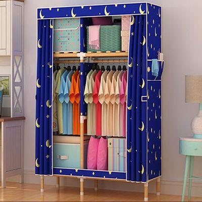 实木布衣柜简易衣柜收纳架推拉门柜子组合家具单人钢管双人挂衣柜