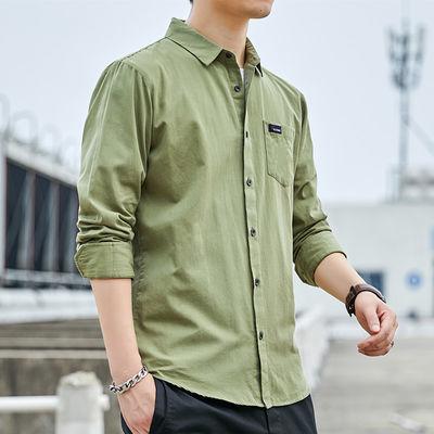 纯棉男士长袖纯色衬衣2020最新款百搭休闲潮青年薄款夏季长袖衬衫