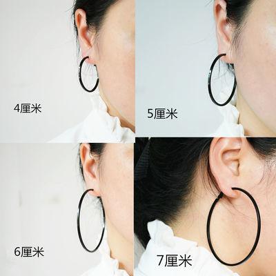 欧美夸张大圈圈耳环女气质圆环耳饰简约耳钉韩国耳圈无耳洞戴耳夹