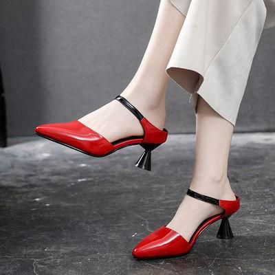 真漆皮凉鞋女2020夏新款韩版细跟高跟鞋外穿百搭一脚蹬包头半拖鞋