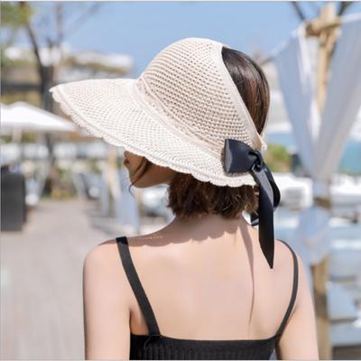 空顶帽子女夏季新款蝴蝶结百搭渔夫帽韩版户外防晒遮脸折叠沙滩帽