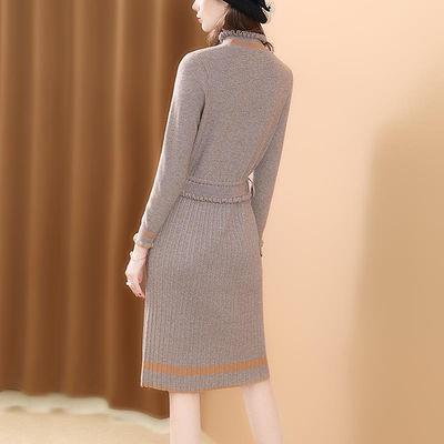 高领毛衣裙中长款2020冬装新款女时尚收腰修身针织过膝打底连衣裙