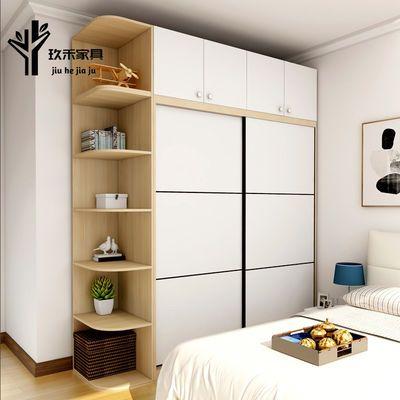 简约现代衣柜推拉门衣柜实木卧室家具简易衣柜可定制组合衣柜包邮