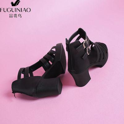 富贵鸟夏新款罗马鞋凉鞋pu皮粗跟高跟防水台鱼嘴百搭时尚休闲女鞋