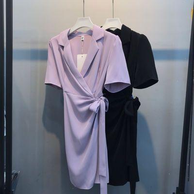 实拍 法式西装V领连衣裙女 超赞质感 绑带收腰显瘦韩版雪纺短袖夏
