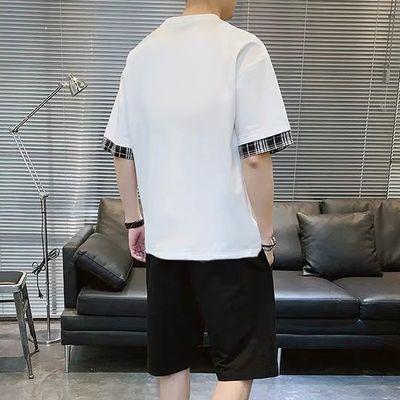 【爆款月销3000+】套装男韩版潮流学生短袖t恤运动休闲两件套男装