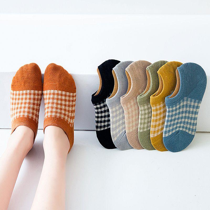 格子袜子女船袜纯棉浅口春季不掉跟韩版隐形短袜低帮薄款日系夏季