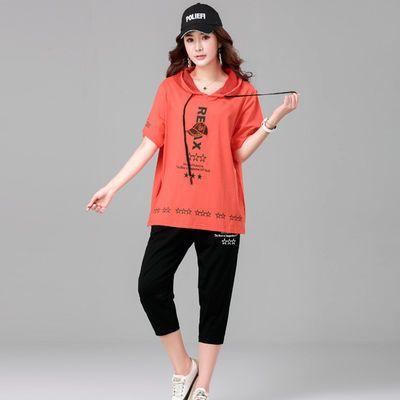 胖mmT恤2020年夏装新款加肥加大码女装200斤宽松休闲两件套套装潮