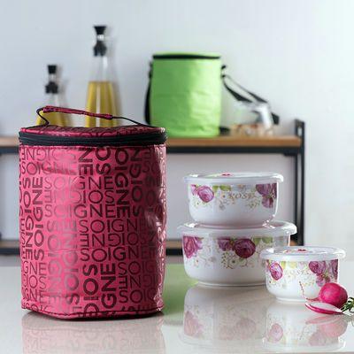 陶瓷保鲜碗三件套便当盒微波炉专用饭盒冰箱保鲜盒带盖大号泡面碗