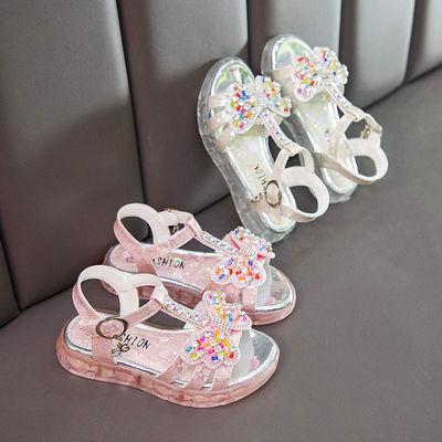 女童凉鞋带灯七彩发光鞋夏季2020新款3-13岁小女孩时尚公主儿童鞋