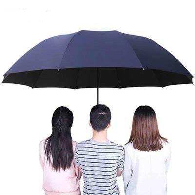 商务手动款雨伞折叠男女简约超大号双人三折学生加固防风晴雨两用