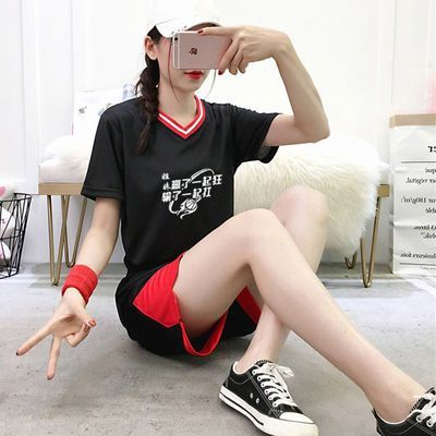 篮球服女学生宽松韩版球衣短袖套装定制女士比赛运动队服班服团购