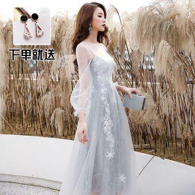 小晚礼服女高贵气质宴会伴娘服中长款平时可穿生日学生仙气连衣裙