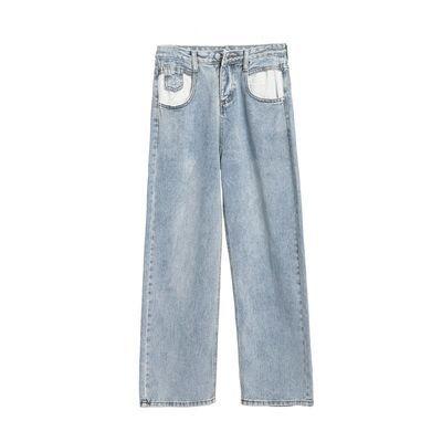 高腰阔腿裤女2020新款复古浅蓝色网红泫雅拖地牛仔裤宽松直筒长裤