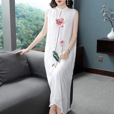 2020夏季新款中国风气质刺绣高贵阔太太旗袍式无袖背心雪纺连衣裙