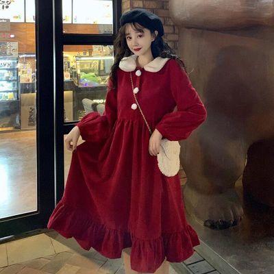 高腰收腰长款娃娃领学生复古红色裙子灯笼袖过膝连衣裙秋冬打底裙