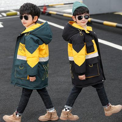 童装男童棉服冬装中长款2019新款加厚儿童棉衣中大童洋气男孩棉袄