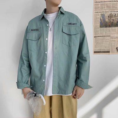 夏季韩风心机九分袖衬衫男潮流网红ins帅气学生寸衫宽松很仙衬衣