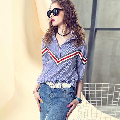 纯棉衬衫女设计感2020春夏新款欧洲站撞色条纹拼接上衣七分袖衬衣