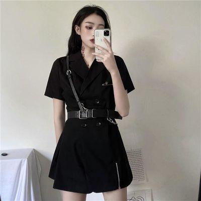 新品ins韩版夏季新款暗黑色双排扣别针网红西装短袖连衣裙送皮带