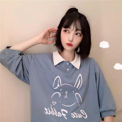 【两件】polo领短袖T恤女学生韩版宽松可爱卡通纽扣翻领上衣夏