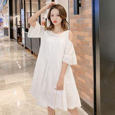 大码女装夏季新款纯棉百褶露肩连衣裙宽松中长款仙女裙刺绣白色裙