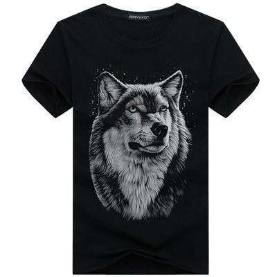 大码狼图案短袖T恤男胖子大号宽松潮流潮胖男装动物图案短袖狼头
