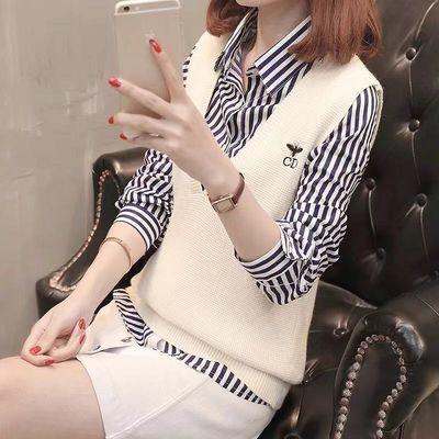 2020新款春秋韩版V领毛衣学生宽松条纹马甲衬衫两件套套装