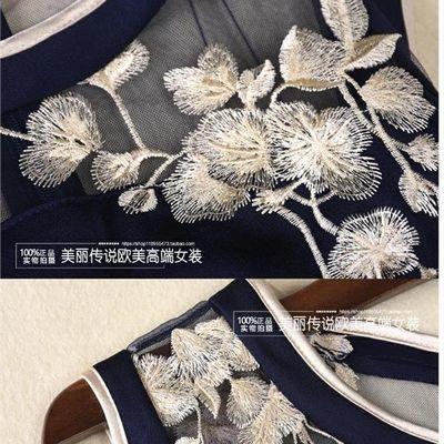 【杭州正品】2020春夏新款系带复古欧美气质刺绣修身无袖连衣裙女