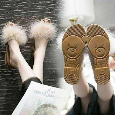 夏天毛茸茸社会ins超火港风2020夏季港味chic网红同款毛毛女拖鞋0