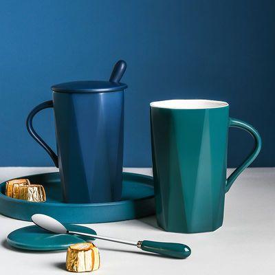 杯子陶瓷创意马克杯带盖勺水杯女男咖啡杯家用杯子学生韩版大容量