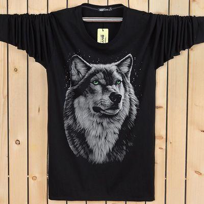 90-220斤春秋新款长袖T恤男青年个性3D狼头大码宽松印花秋衣男装