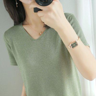 亮丝夏季冰丝t恤女宽松版V领针织大码冰丝短袖新款时尚简约打底衫