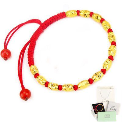 黄金转运珠手链本命年加厚电镀三层金珠红绳编织情侣辟邪链